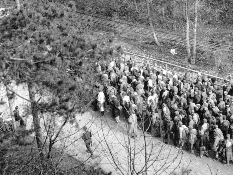 Todesmarsch der KZ-Häftlinge durch die SS-Wachmannschaften nach Evakuierung der KZ-Lager.