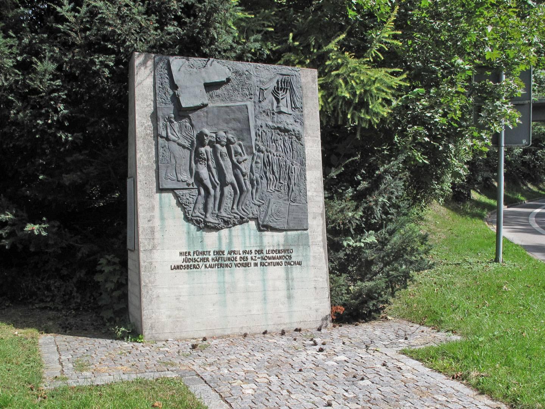 Mahnmal zum Gedenken an die Opfer der Todesmärsche in Landsberg.