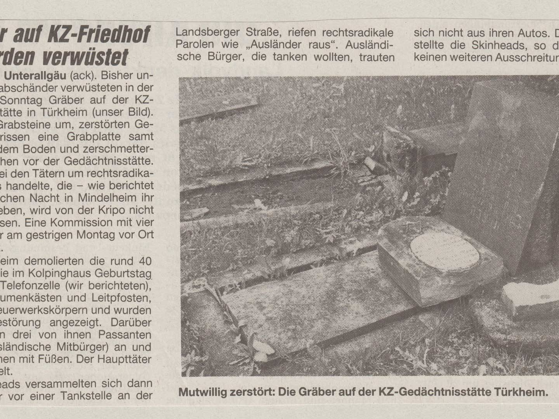 Vandalismus auf dem KZ-Friedhof.