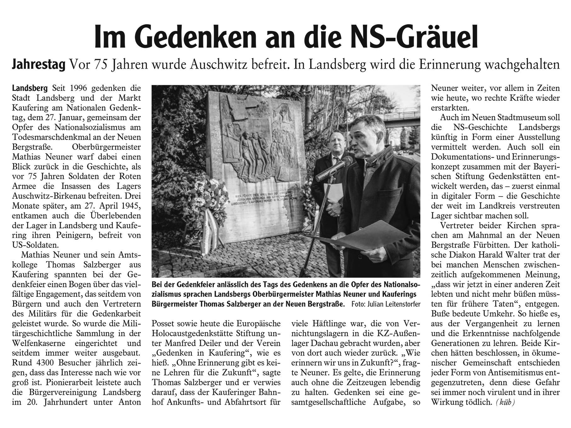 Erinnerungskultur des Landkreises Landsberg am Lech.