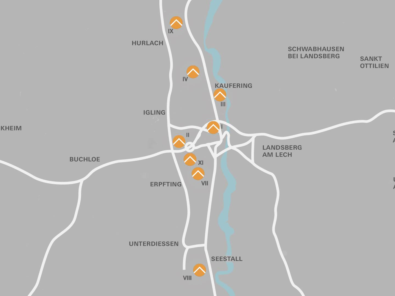 Standorte des ehemaligen KZ-Außenlagerkomplexes Landsberg/Kaufering.