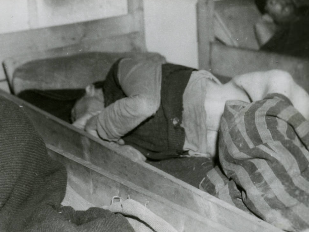 Das Krankenrevier des KZ-Lagers Kaufering I in Landsberg nach der Befreiung.